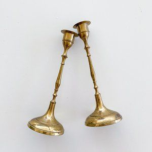 Vintage Brass Gold Pair of Candlesticks